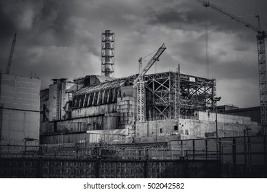 Chernobyl reactor. The Arch. Ruins of Pripyat city. Chernobyl exclusion zone. Exclusive last photo before the arch will be installed in a place. Zone of high radioactivity. Global catastrophe.