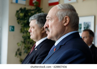 CHERNOBYL, UKRAINE - Apr 26, 2017: President of Ukraine Petro Poroshenko and President of Belarus Alexander Lukashenko take part in events on anniversary of accident on Chornobyl Nuclear Power Plant