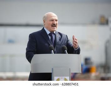 CHERNOBYL, UKRAINE - Apr 26, 2017: President of Belarus Alexander Lukashenko take part in the events on the anniversary of accident on Chornobyl Nuclear Power Plant