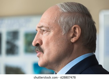 CHERNOBYL, UKRAINE - Apr 26, 2017: President of Belarus Alexander Lukashenko take part in the events on the anniversary of Chornobyl accident on Nuclear Power Plant