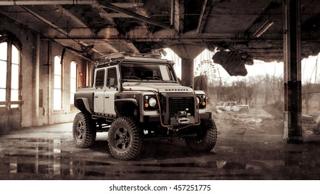 Chernobyl, Ukraine August 31, 2012: Land Rover Defender tuned for  zombie apocalypse in a destroyed building on August 31, 2012 in Chernobyl