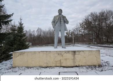 Chernobyl, Ukraine, february 1, 2018: Statue of Vladimir Iljic Lenin in Chernobyl, Ukraine