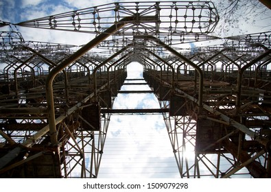 "Chernobyl, Ukraine, May 21, 2017. Excursion to the town of Pripyat. Soviet radar system called ""Doug"" or ""Russian Woodpecker"""