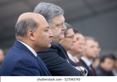 CHERNOBYL, UKRAINE - Nov 29, 2016: President of European Bank for Reconstruction and Development (EBRD) Suma Chakrabarti and president of Ukraine Petro Poroshenko at Chornobyl nuclear power plant