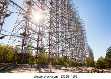 CHERNOBYL, UKRAINE - October 2015: Soviet over the horizon radar system called DUGA RADAR or RUSSIAN WOODPECKER based in Chernobyl-2 exclusion zone, Ukraine