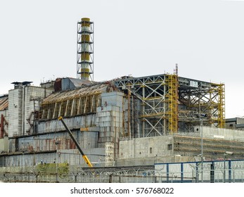Chernobyl, Ukraine - October 24, 2016: Chernobyl nuclear power station with damaged reactor block 4 in the exclusion zone