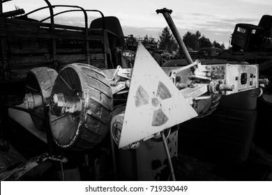 Chernobyl vehicle graveyard. Buryakovka. Exclusive capture of ex Soviet Lunokhod. Chernobyl accident. Chernobyl exclusion zone. Zone of high radioactivity.  Chernobyl Nuclear Power Plant near Pripyat.