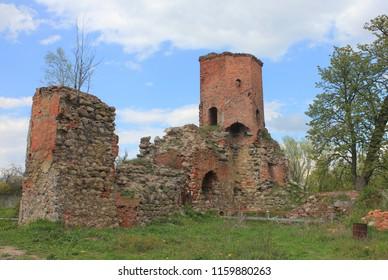 CHERNYAHOVSK, KALININGRAD OBLAST / RUSSIA - APRIL 26 2016: Ruines of Georgenburg castle in the Kaliningrad oblast