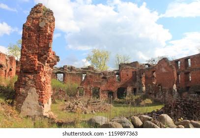 CHERNYAHOVSK, KALININGRAD OBLAST / RUSSIA - APRIL 26 2016: Ruines of Insterburg castle in the Kaliningrad oblast