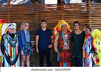 Cherokee Indian Reserve, Tennessee- September 13, 2017- Group of friends with Indians.