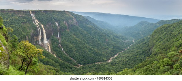 Cherrapunjee, Meghalaya, India. beautiful panorama of the Seven Sisters waterfalls near the town of Cherrapunjee in Meghalaya, North-East India.