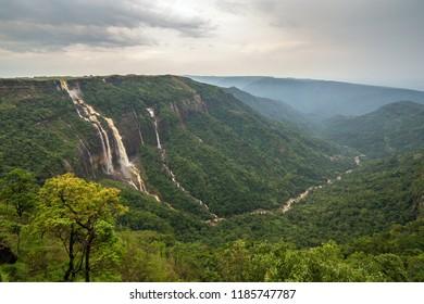 Cherrapunjee, Meghalaya, India. Иeautiful panorama of the Seven Sisters waterfalls near the town of Cherrapunjee in Meghalaya, North-East India.