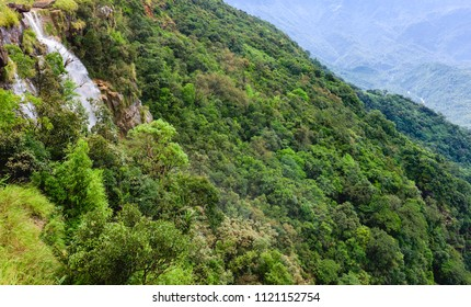 Cherrapunji, Meghalaya, India. Seven Sisters watersfalls surrounded by the thick forested slopes of the Khasi hills in the monsoon season near Cherrapunji, Meghalaya, India.