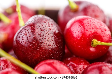 Cherries background. Isolated cherries. Cherry fruits isolated on white background with clipping path. Sweet cherry isolated on white