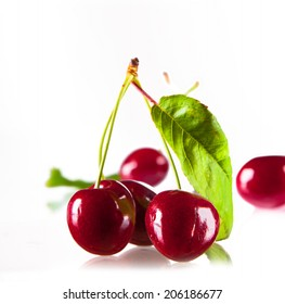 Cherries, cherry isolated on white background.