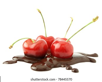 Cherries in chocolate isolated