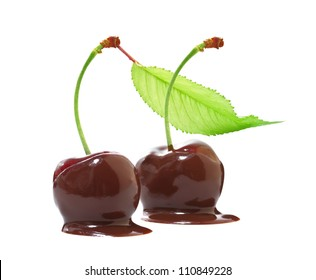 Cherries in chocolate on a white background