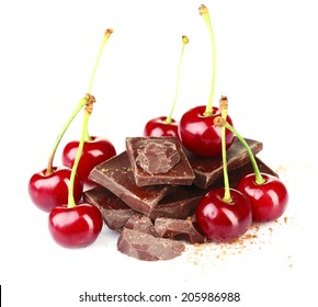 Cherries and chopped chocolate isolated on white