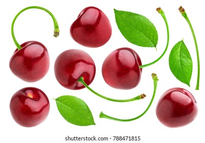Cherries collection. Cherry isolated on white background