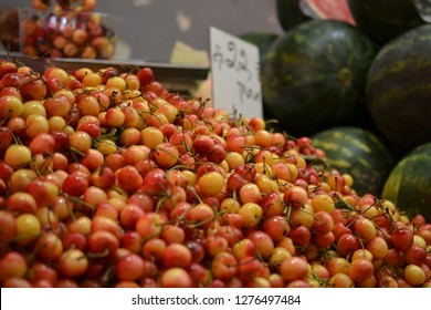 cherries and fruit at Mahane Yehuda, shuk, Jewish grocery market in Jerusalem, Israel
