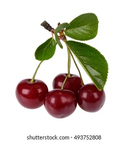 cherries with green leaves on a white background
