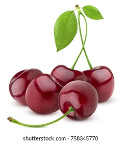 Cherries heap isolated on white background