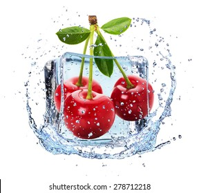 cherries in ice with water splash