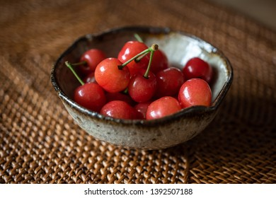 cherries in a japanese Karatsu ware pottery