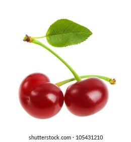 cherries with leaf isolated on a white background.