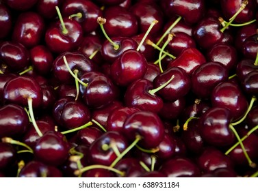 Cherries on a market stall in Queensland, Australia. Full-frame, Background, Healthy Food