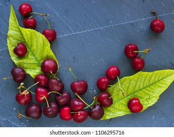 Cherries on slate slab