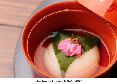 Cherry blossom leaves wrapped in white bun