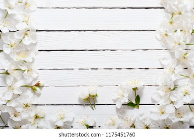 cherry blossom spring background, white wood