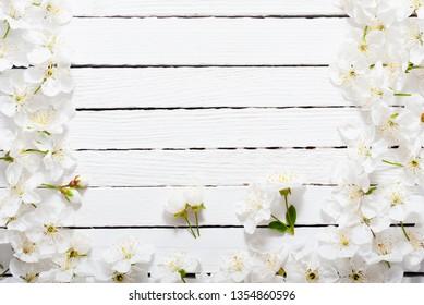 cherry blossom spring background, white wood