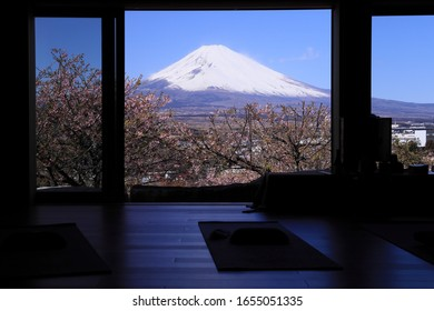 Cherry blossoms and Mt.Fuji seen outside the open glass door at Zazen-do