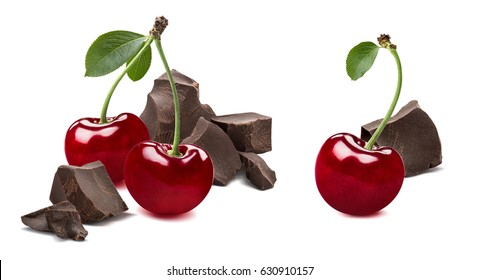 Cherry broken chocolate 2 isolated on white background as package design element