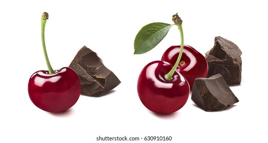 Cherry broken chocolate selection 3 isolated on white background as package design element