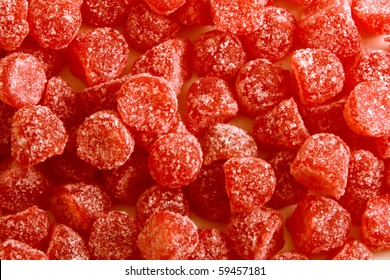 cherry candy background with sugar crystals snack