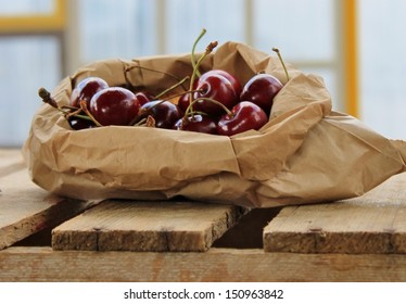 cherry cherries Brown paper bag of juicy ripe fresh nutritious for Australian Christmas stock, photo, photograph, image, picture