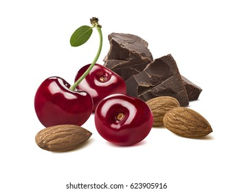 Cherry, chocolate and almond nuts isolated on white background as package design element
