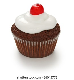 cherry chocolate cupcake on white background