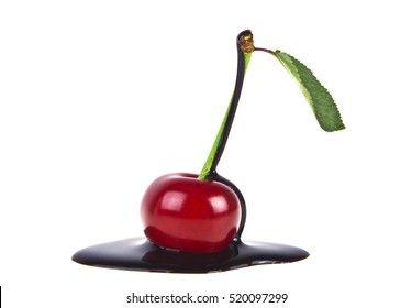 Cherry in chocolate on a white background