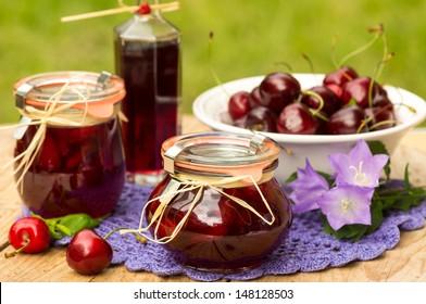 Cherry confiture with blackcurrant (cassis) liqueur