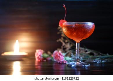 cherry daiquiri cocktail at bar