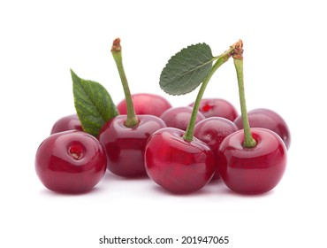Cherry fruit closeup isolated on white background