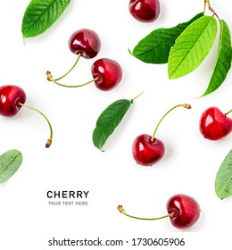Cherry fruit composition and creative layout isolated on white background. Healthy eating and dieting food concept. Cherry fruits and leaves arrangement and design elements. Top view, flat lay