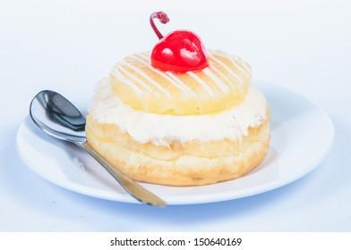 cherry fruit donut on white background