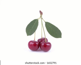 cherry fruits and leaves isolated on white