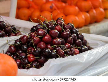 Cherry fruits for sale at market in Chinatown, Thailand