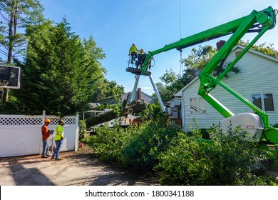 Cherry Hill - New Jersey - July, 2020: Men wearing hard hats working for a tree service are seen helping to remove a tree that had fallen on the roof of a house